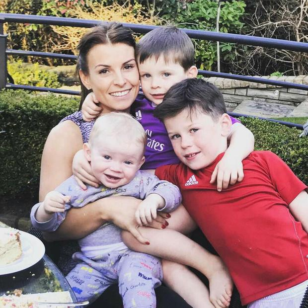 Coleen Rooney with children Kai, Kit and Klay