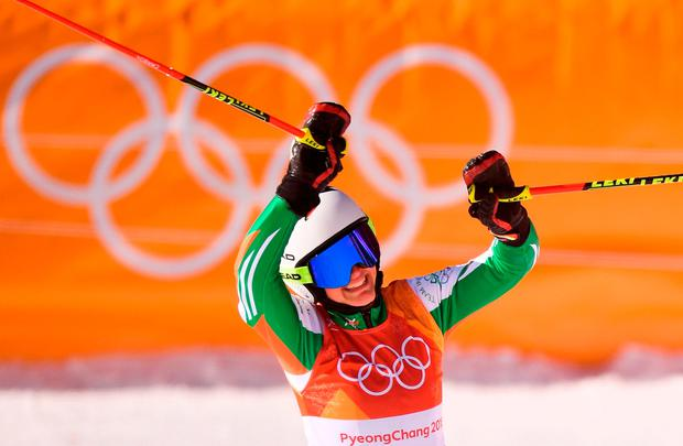 Tess Arbez of Ireland following the Ladies Giant Slalom on day six