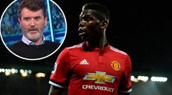 Paul Pogba and (inset) Roy Keane