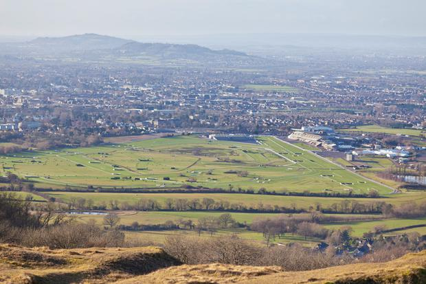 An aerial view of the famous horse racetrack (Cheltenham Racecourse) at Cheltenham, England.
