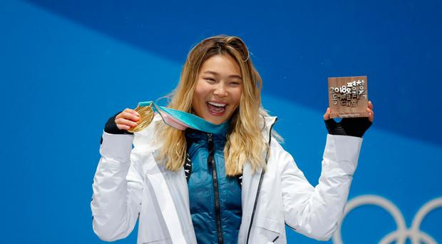 Gold medalist Chloe Kim of the U.S. on the podium