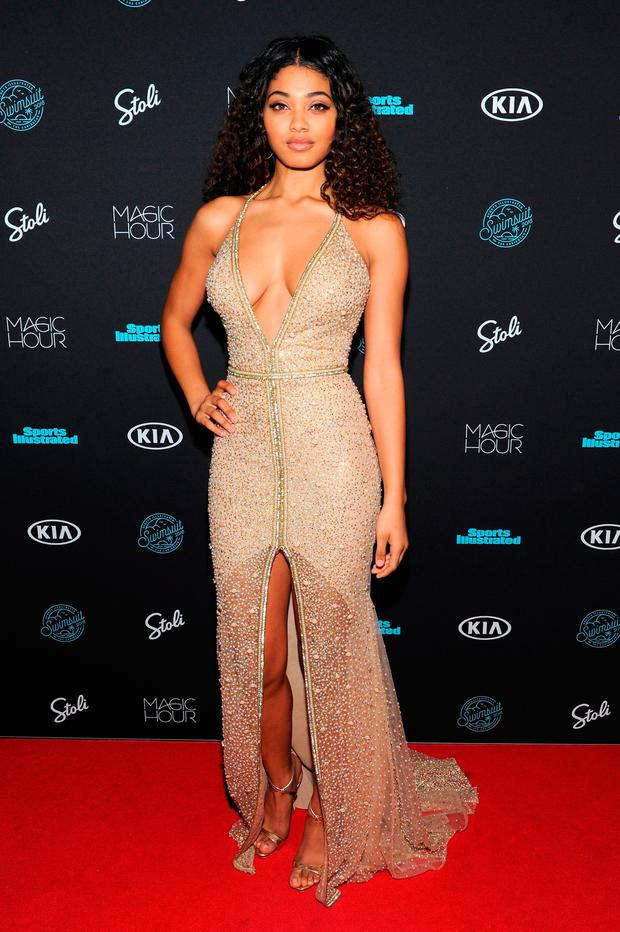 f50ea2b93cd Model Danielle Harrington attends Sports Illustrated Swimsuit 2018 Launch  Event at Magic Hour at Moxy Times Square on February 14