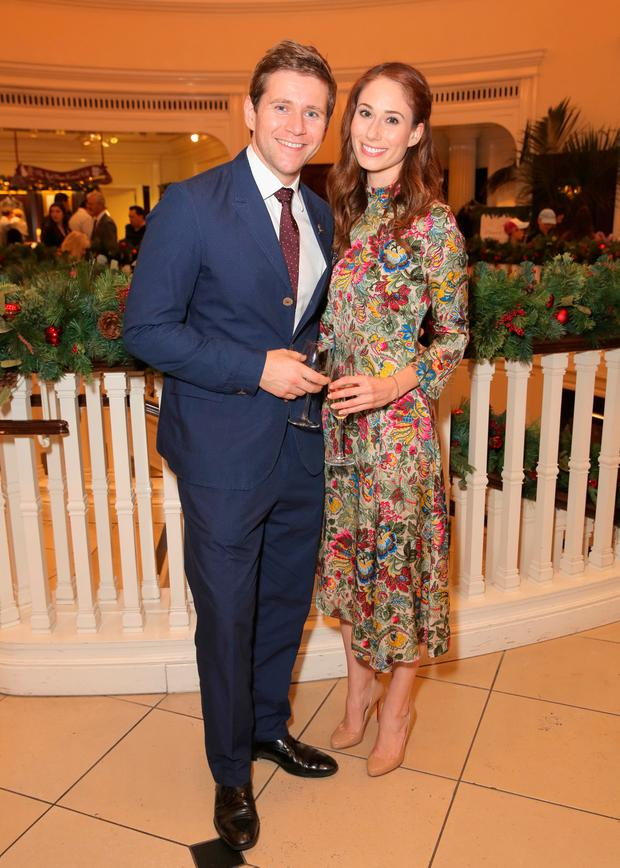 Jessica Blair Herman and Allen Leech attend the Brooks Brothers holiday celebration with St Jude Children's Research Hospital at Brooks Brothers Rodeo on December 2, 2017 in Beverly Hills, California. (Photo by Rachel Murray/Getty Images for Brooks Brothers)