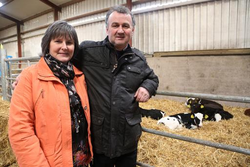 Pictured at the launch of Leanfarm, a pioneering training programme rolled out to all Dairygold suppliers are Geraldine and Liam Herlihy, Hill View Farm. Picture: Miki Barlok