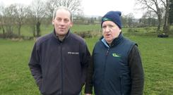 Teagasc advisor Terry Carroll and farm owner Rory O'Donnell on the first of the Grass10 sheep spring grazing walks at Clashwilliam, Gowran, Co Kilkenny