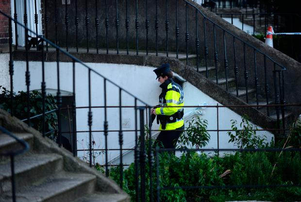 General view of Gardai entering house on Ranelagh road, Dublin. Picture: Caroline Quinn