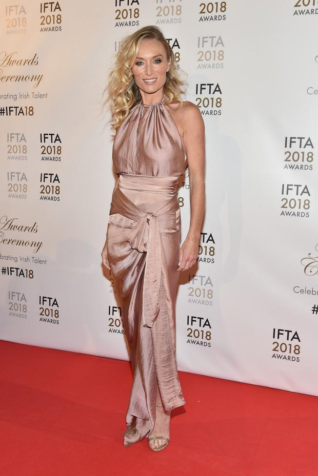 Victora Smurfit arriving on the red carpet at the IFTA Film and Drama Awardss 2018 at the Mansion House, Dublin. Photo by Michael Chester.