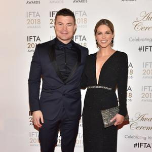 Brian O'Driscoll and Amy Huberman arriving on the red carpet at the IFTA Film and Drama Awardss 2018 at the Mansion House, Dublin. Photo by Michael Chester.