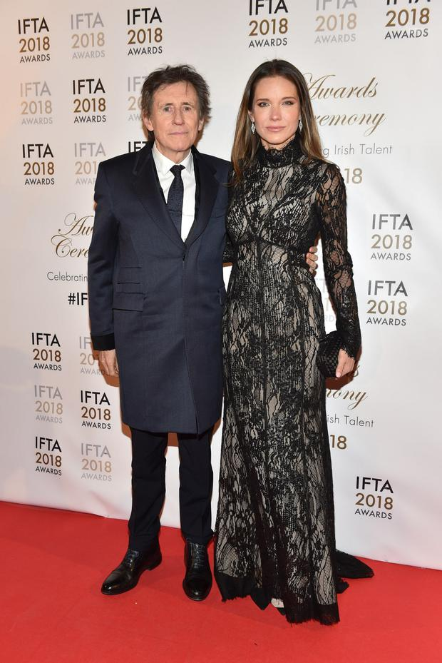 Gabriel Byrne and Hannah Beth King arriving on the red carpet at the IFTA Film and Drama Awards 2018 at the Mansion House, Dublin. Photo: Michael Chester