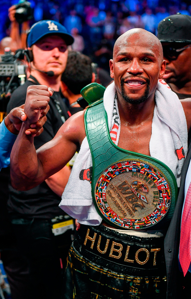 Floyd Mayweather Jr celebrates following his victory against Conor McGregor last year. Photo: Sportsfile