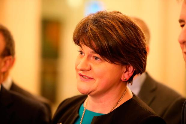 The DUP's Arlene Foster contradicted Sinn Féin claims about a deal and denied she had lost control of her party. Photo: PA