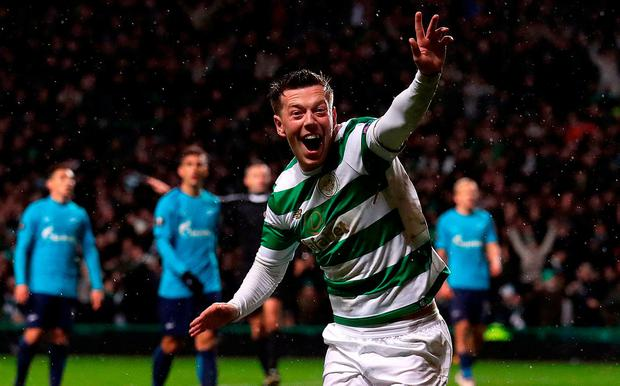 Celtic's Callum McGregor celebrates scoring his side's winner