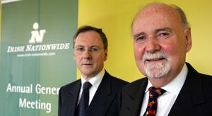 Ex-chairman Michael Walsh and right, ex-chief executive Michael Fingleton at the Irish Nationwide AGM in Dublin in 2005