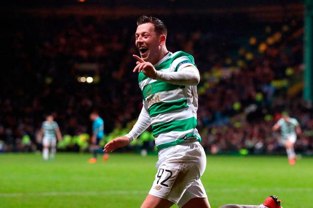Celtic's Callum McGregor celebrates scoring the winning goal. Photo: PA