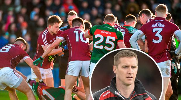 Mayo and Galway get to grips with each other and (inset) Mayo selector Tony McEntee