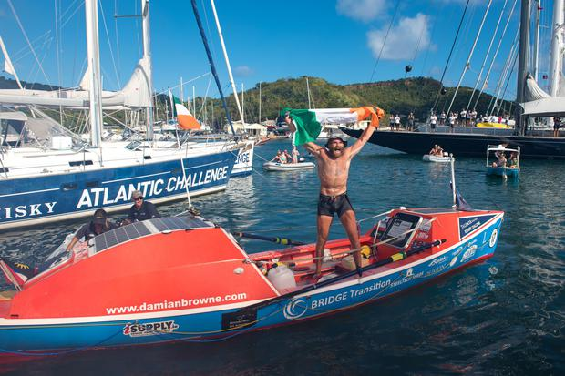 Damian Browne after completing his row