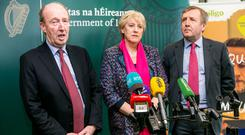 Ministers Shane Ross Heather Humphreys and Michael Creed at a briefing in IT Sligo for the launch of Project Ireland 2040.