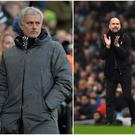 Jose Mourinho (left), Pep Guardiola (centre) and Jurgen Klopp (right).