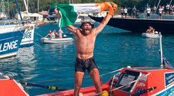 Damian Browne in Antigua after rowing 4,800km
