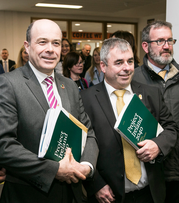 Ministers Denis Naughten and Kevin 'Boxer' Moran at the launch of the National Development Plan