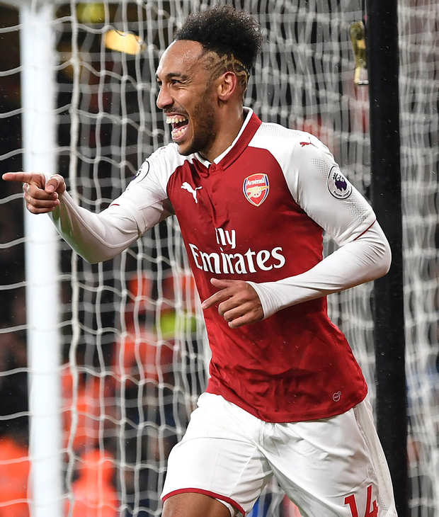 Pierre-Emerick Aubameyang celebrating after scoring his first Arsenal goal. Photo: Getty Images