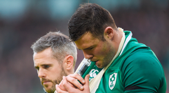 Robbie Henshaw leaves the field with a shoulder injury against Italy. Photo: Sportsfile