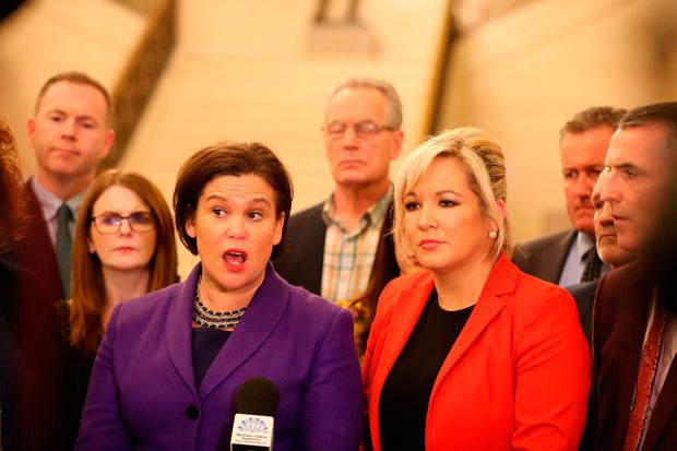 Sinn Féin's delegation at the talks in Stormont speak to the media while the Taoiseach Leo Varadkar was in talks with British Prime Minister Theresa May. Photo: PA