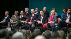 Members of the Cabinet sit on stage during the launch of Project Ireland 2040. Photo: Kyran O'Brien