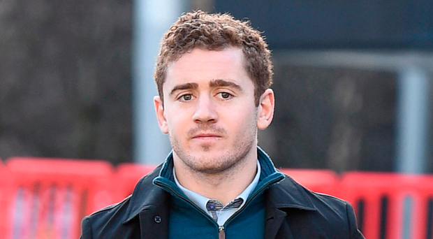Ireland and Ulster rugby player Paddy Jackson arrives at Belfast Crown Court. Photo: Michael Cooper/PA