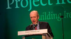 Minister for Transport Shane Ross speaking at the Cabinet meeting and launch of Project Ireland 2040. Photo: James Connolly