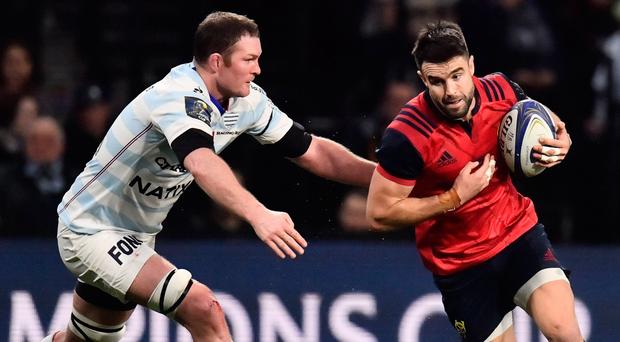 Donnacha Ryan in action against his former team-mate Conor Murray during the recent Champions Cup clash between Racing 92 and Munster. Photo: Getty Images
