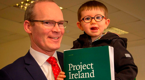 Tánaiste Simon Coveney with James Wall at the Cabinet meeting and launch of Project Ireland 2040 at IT Sligo.