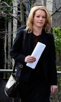 Claire Byrne at the Four Courts yesterday. Photo: Collins