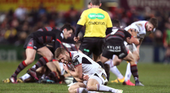 16 February 2018; Johnny McPhillips of Ulster after sustaining an injury during the Guinness PRO14 Round 15 match between Ulster and Edinburgh at the Kingspan Stadium in Belfast. Photo by John Dickson/Sportsfile