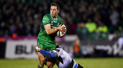 16 February 2018; Craig Ronaldson of Connacht is tackled by Maxime Mbanda of Zebre during the Guinness PRO14 Round 15 match between Connacht and Zebre at the Sportsground in Galway. Photo by Harry Murphy/Sportsfile