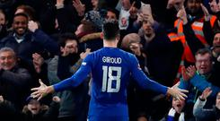 Soccer Football - FA Cup Fifth Round - Chelsea vs Hull City - Stamford Bridge, London, Britain - February 16, 2018 Chelsea's Olivier Giroud celebrates scoring their fourth goal Action Images via Reuters/Paul Childs