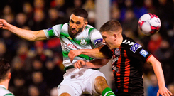 Roberto Lopes of Shamrock Rovers challenges Dan Casey during their clash against Bohemians at Dalymount Park last night. Photo: Matt Browne/Sportsfile
