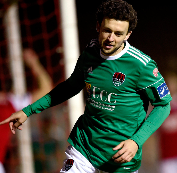Cork City's Barry McNamee celebrates after scoring his side's first goal. Photo: Tom Beary/Sportsfile