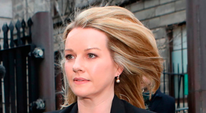 Claire Byrne leaves court yesterday.