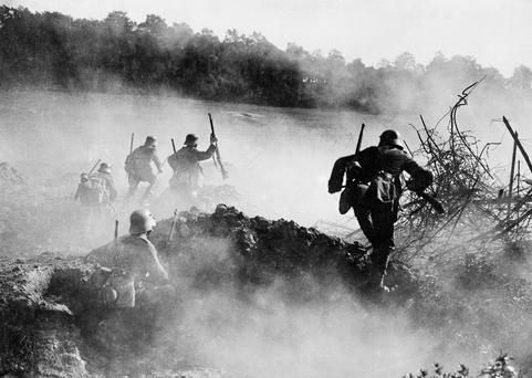 Surprise: German troops advancing during the Spring Offensive of 1918. Photo: Imperial War Museum