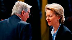 Ex-Austrian chancellor Wolfgang Schussel and German Defence Minister Ursula von der Leyen at the Munich Security Conference