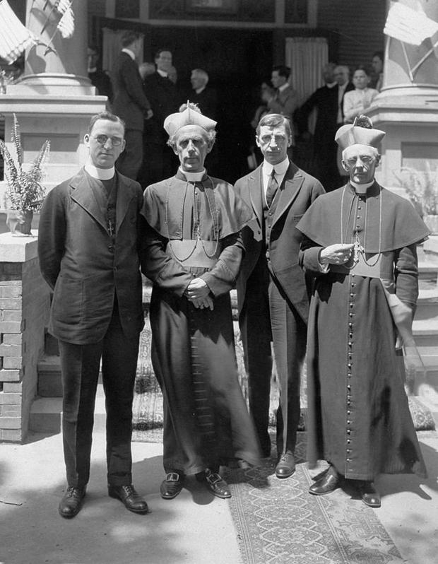 Advocate: Archbishop Mannix of Melbourne (second left), seen here with Fr Flanagan, Éamon de Valera and Bishop Foley, was causing a stir in Australia over his vocal support for Irish independence