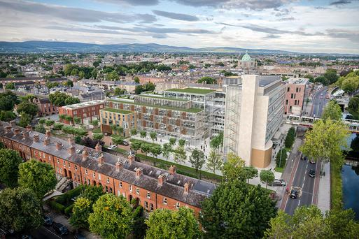 An artist's impression of the plans. The former building society HQ is more than 50 years old and a protected structure. It was originally built as the HQ for tobacco firm PJ Carrolls.