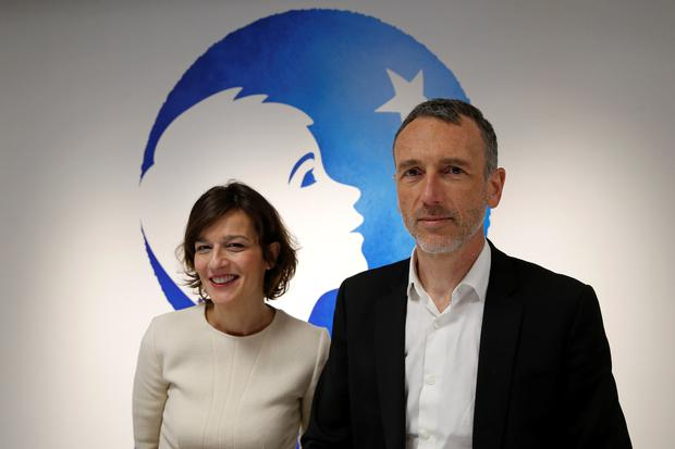 Cecile Cabanis, chief financial officer of French food group Danone, and chief executive Emmanuel Faber at a news conference to present the company's 2017 annual results in Paris, France