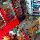 Fallen merchandise is seen on the floor of a shop after an earthquake in Oaxaca, Mexico February 16, 2018, in this image taken from social media. HUMBERTO RAMOS/via REUTERS