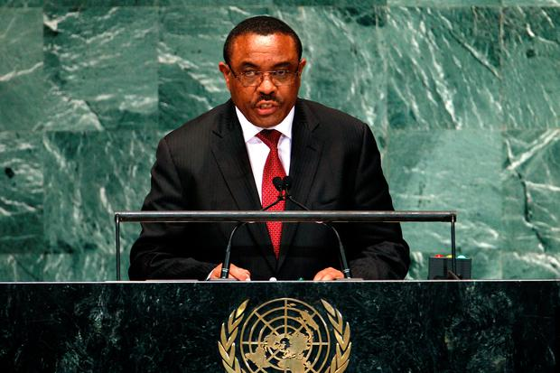 Ethiopia's Prime Minister Hailemariam Desalegn addresses the 67th United Nations General Assembly at U.N. headquarters in New York, September 28, 2012. REUTERS/Keith Bedford/File Photo