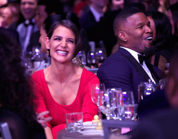 Katie Holmes (L) and Jamie Foxx attend the Clive Davis and Recording Academy Pre-GRAMMY Gala and GRAMMY Salute to Industry Icons Honoring Jay-Z on January 27, 2018 in New York City. (Photo by Kevin Mazur/Getty Images for NARAS)