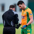 Martin Farragher of Corofin speaks to referee Derek O'Mahoney prior to being sent off during the AIB GAA Football All-Ireland Senior Club Championship Semi-Final match between Corofin and Moorefield at O'Connor Park in Tullamore, Offaly. Photo by Matt Browne/Sportsfile