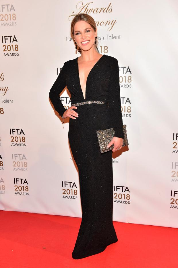 Amy Huberman arriving on the red carpet at the IFTA Film and Drama Awardss 2018 at the Mansion House, Dublin. Photo: Michael Chester
