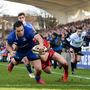 17 February 2018; James Lowe of Leinster goes over to score his side's first try despite the tackle of Corey Baldwin of Scarlets during the Guinness PRO14 Round 15 match between Leinster and Scarlets at the RDS Arena in Dublin. Photo by Seb Daly/Sportsfile